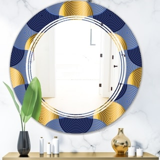 Designart 'Retro Luxury Waves In Gold and Blue VIII' Modern Round or Oval Wall Mirror - Triple C