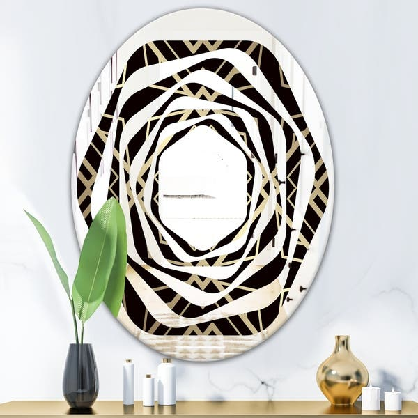 Shop Designart Gold And Black Art Deco Pattern Modern Round Or Oval Wall Mirror Whirl On Sale Overstock 29912926