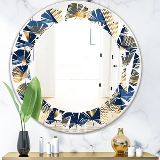 Designart 'Gold and Blue Cubes' Modern Round or Oval Wall Mirror - Leaves