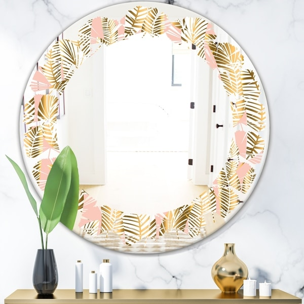 Designart 'Golden Palm Leaves I' Modern Round or Oval Wall Mirror - Leaves