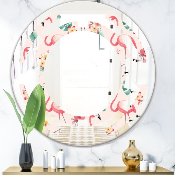 Designart 'Tropical Botanicals, Flowers and Flamingo II' Modern Round or Oval Wall Mirror - Space