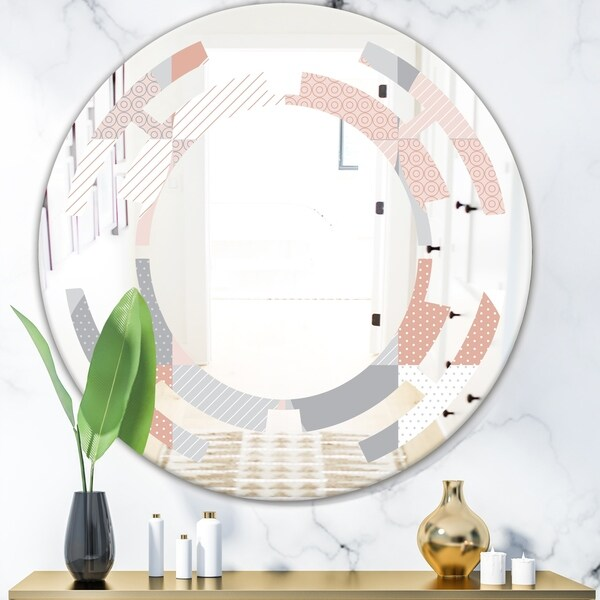 Designart 'Round geometric textured pattern' Modern Round or Oval Wall Mirror - Space - Multi