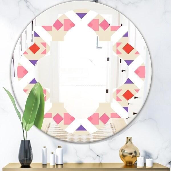 Designart 'Triangular Retro Design VII' Modern Round or Oval Wall Mirror - Quatrefoil