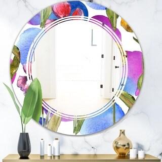 Designart 'Retro Tulips in Purple' Cottage Round or Oval Wall Mirror - Triple C