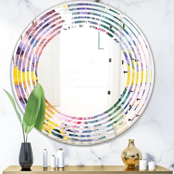 Designart 'Retro Floral Botanical V' Cottage Round or Oval Wall Mirror - Wave - Multi