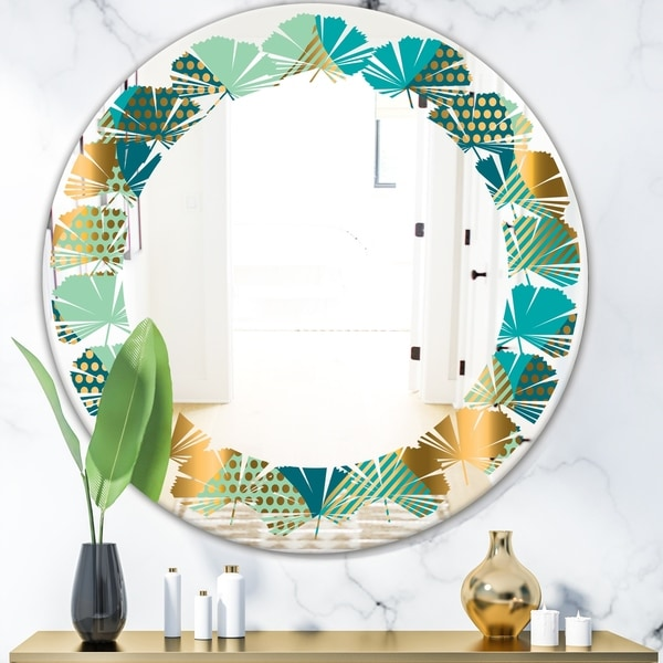 Designart 'Luxury Retro Drops II' Modern Round or Oval Wall Mirror - Leaves