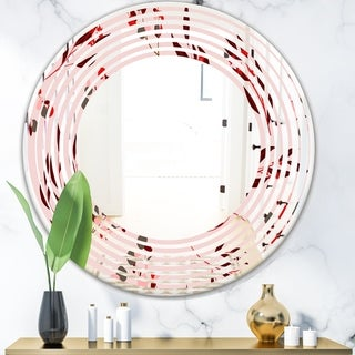 Designart 'Bright Eucalyptus Floral Pattern II' Cottage Round or Oval Wall Mirror - Wave
