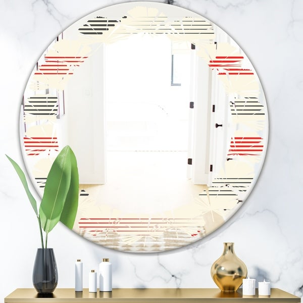 Designart 'Horizontal Retro Geometrical Pattern I' Modern Round or Oval Wall Mirror - Leaves
