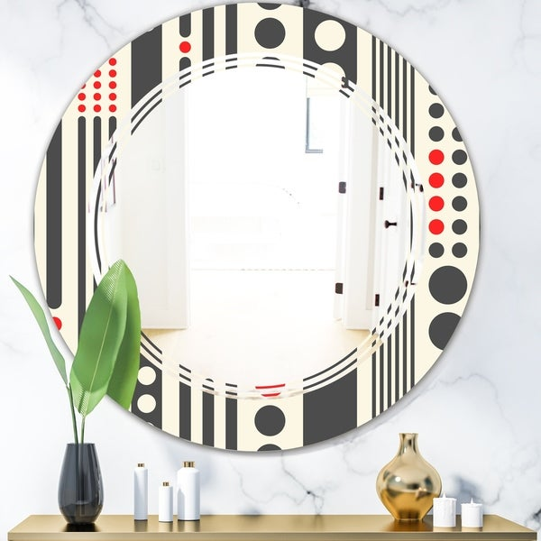 Designart 'Retro Geometrical Abstract Minimal Pattern II' Modern Round or Oval Wall Mirror - Triple C