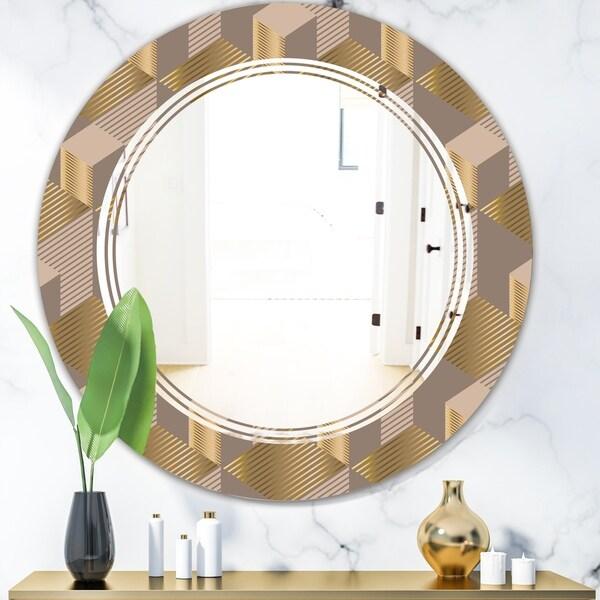 Designart 'Retro Square Design V' Modern Round or Oval Wall Mirror - Triple C