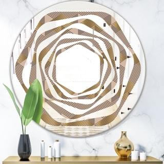 Designart 'Retro Square Design VI' Modern Round or Oval Wall Mirror - Whirl