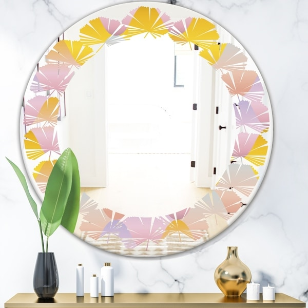 Designart 'Golden Geometrical Diamond Pattern II' Modern Round or Oval Wall Mirror - Leaves