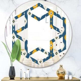 Designart 'Retro Abstract Pattern II' Modern Round or Oval Wall Mirror - Hexagon Star