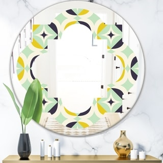 Designart 'Diamond Retro V' Modern Round or Oval Wall Mirror - Quatrefoil