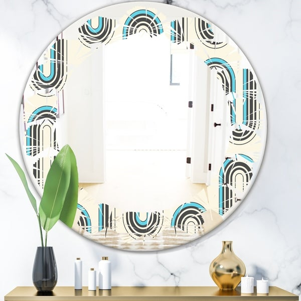 Designart 'Retro Geometrical Abstract Minimal Pattern IV' Modern Round or Oval Wall Mirror - Leaves