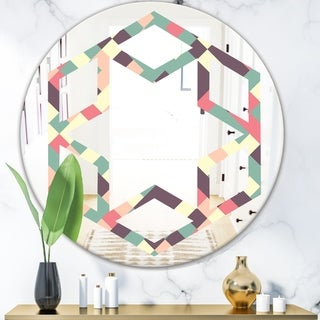 Designart 'Retro Square Design IV' Modern Round or Oval Wall Mirror - Hexagon Star - Multi