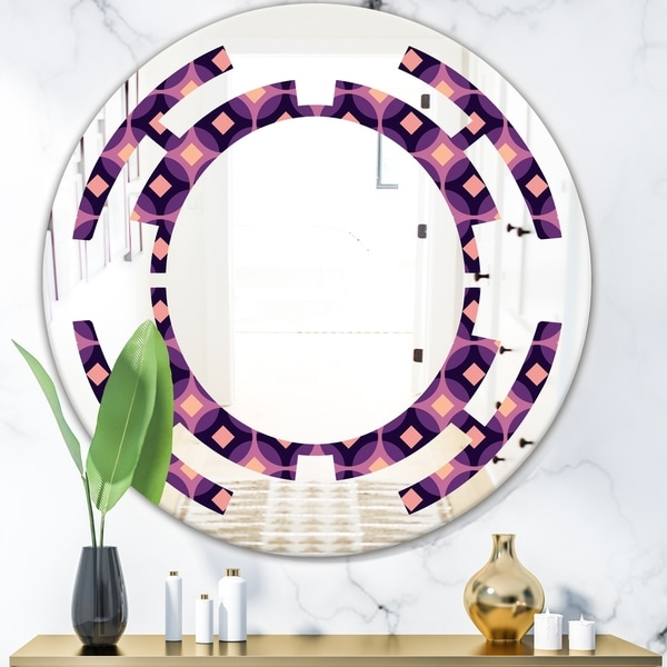 Designart 'Retro Circular Purple and Yellow Pattern' Modern Round or Oval Wall Mirror - Space