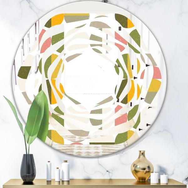 Designart 'Vintage Circular Design I' Modern Round or Oval Wall Mirror - Whirl