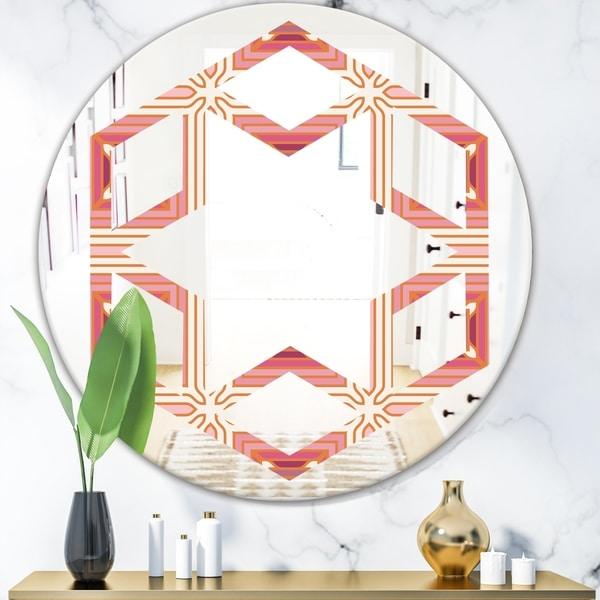 Designart 'Geometric Retro Design II' Modern Round or Oval Wall Mirror - Hexagon Star