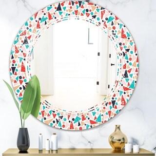 Designart 'Retro Abstract Pattern Design II' Modern Round or Oval Wall Mirror - Triple C