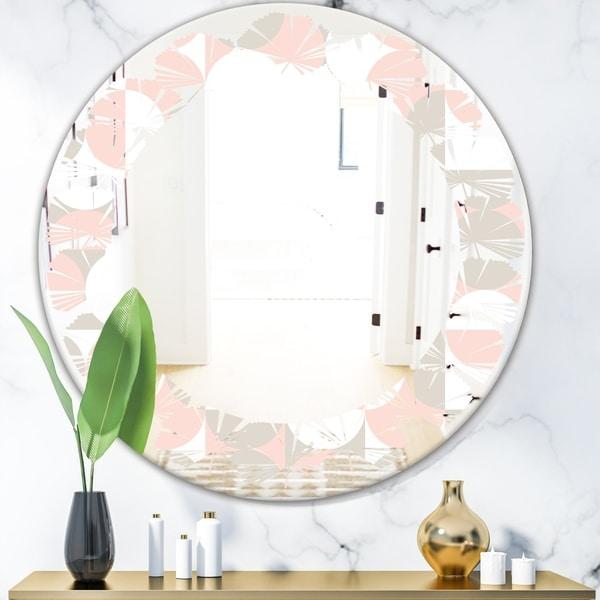 Designart 'Retro Circular Pattern III' Modern Round or Oval Wall Mirror - Leaves