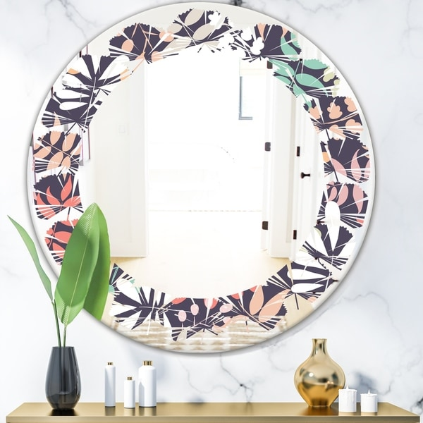 Designart 'Retro Botanical Pattern II' Modern Round or Oval Wall Mirror - Leaves - Multi