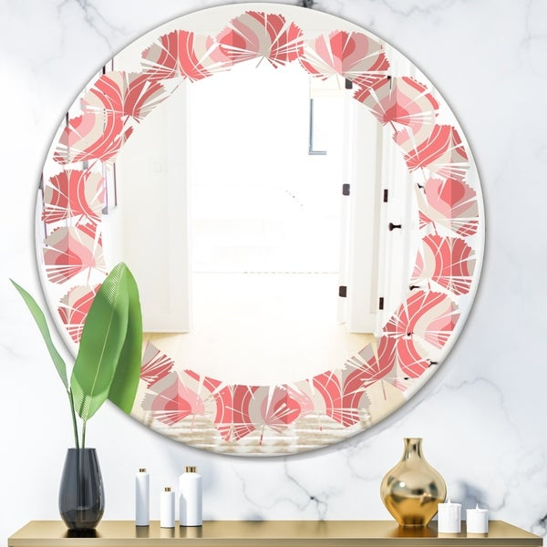 Designart 'Retro Drop Design I' Modern Round or Oval Wall Mirror - Leaves