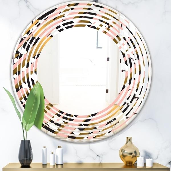 Designart 'Gold Checkered Pattern II' Modern Round or Oval Wall Mirror - Wave