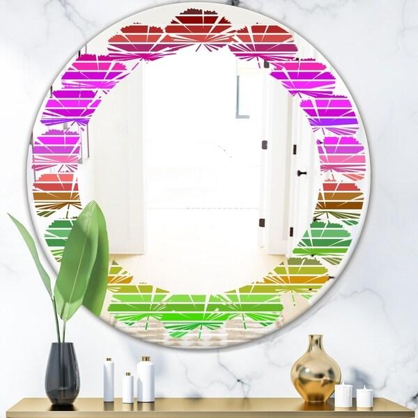 Designart 'Horizontal Retro Geometrical Pattern II' Modern Round or Oval Wall Mirror - Leaves