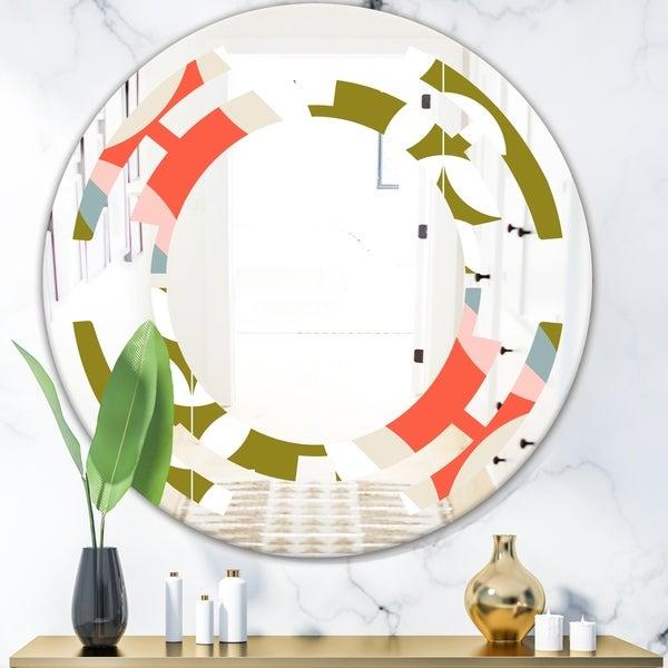 Designart 'Retro Botanical Pattern I' Modern Round or Oval Wall Mirror - Space