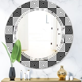Designart 'Monochrome Geometric Pattern XI' Modern Round or Oval Wall Mirror - Triple C