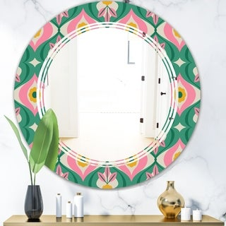 Designart 'retro pattern with flowers and leaves' Modern Round or Oval Wall Mirror - Triple C
