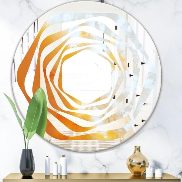 Designart 'True Yellow Stone' Modern Round or Oval Wall Mirror - Whirl