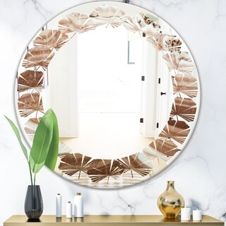 Designart 'Crystals minerals and stones' Modern Round or Oval Wall Mirror - Leaves