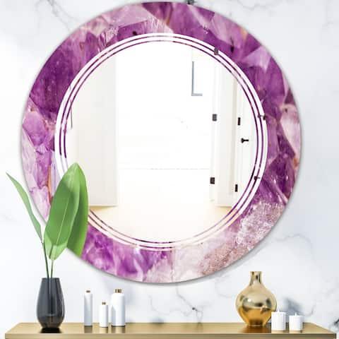 Designart 'Purple Amethyst Macro' Modern Round or Oval Wall Mirror - Triple C