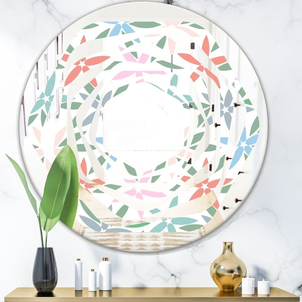 Designart 'Retro Abstract Flower Design III' Modern Round or Oval Wall Mirror - Whirl