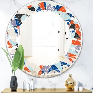 Designart 'Retro Geometric Grid IV' Modern Round or Oval Wall Mirror - Leaves
