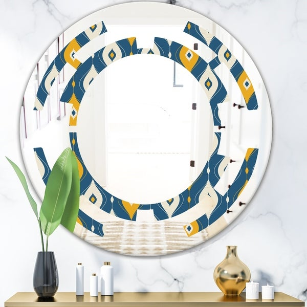 Designart 'Retro Abstract Pattern II' Modern Round or Oval Wall Mirror - Space