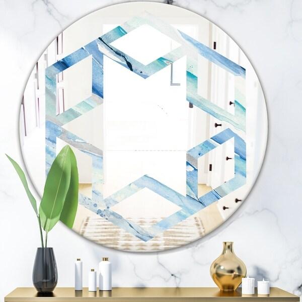 Designart 'Blue Silver Spring I' Modern Round or Oval Wall Mirror - Hexagon Star