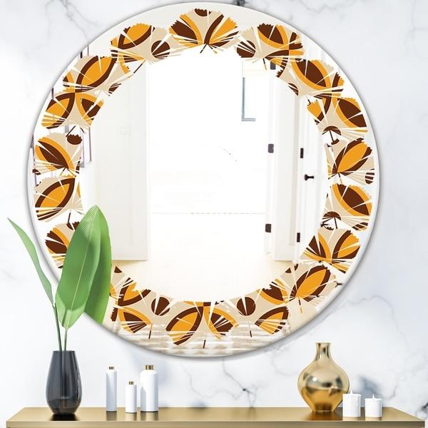 Designart 'Retro Ornamental Design V' Modern Round or Oval Wall Mirror - Leaves