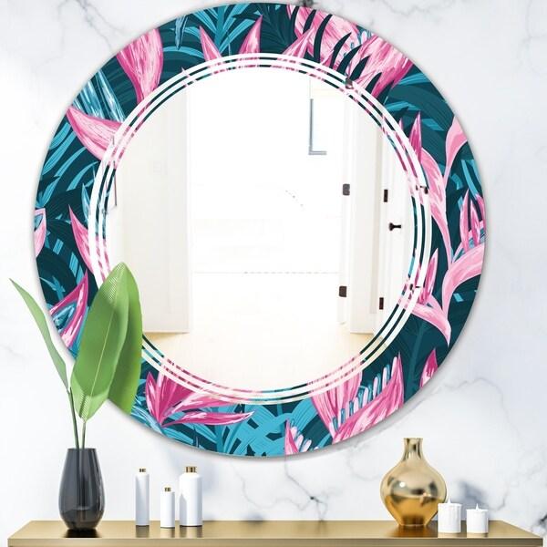 Designart 'Handdrawn Tropical Flowers' Modern Round or Oval Wall Mirror - Triple C