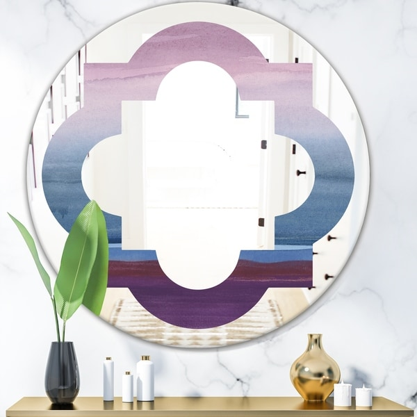 Designart 'Purple Rock Landscape III' Modern Round or Oval Wall Mirror - Quatrefoil