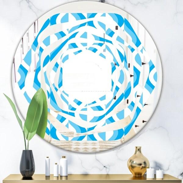 Designart 'Retro Pattern Abstract Design VI' Modern Round or Oval Wall Mirror - Whirl