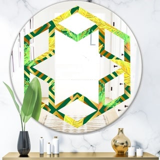Designart 'Tropical Gold Luxury Pattern II' Modern Round or Oval Wall Mirror - Hexagon Star