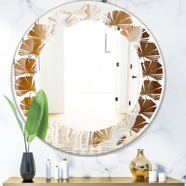 Designart 'Marbled Geode 3' Modern Round or Oval Wall Mirror - Leaves