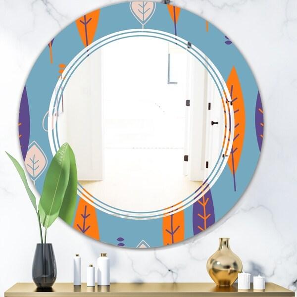 Designart 'Floral Retro Botanical Pattern II' Modern Round or Oval Wall Mirror - Triple C