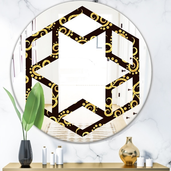 Designart 'Gold and Black Swirl II' Modern Round or Oval Wall Mirror - Hexagon Star