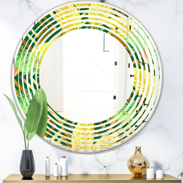 Designart 'Tropical Gold Luxury Pattern II' Modern Round or Oval Wall Mirror - Wave