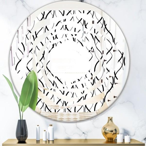 Designart 'Retro Geometrical Abstract Minimal Pattern X' Modern Round or Oval Wall Mirror - Whirl