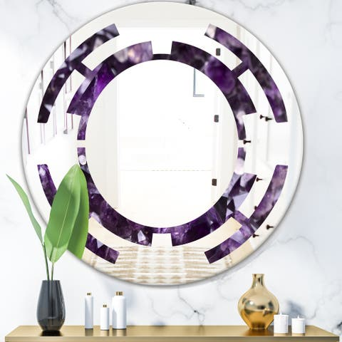 Designart 'Amethyst geode' Modern Round or Oval Wall Mirror - Space